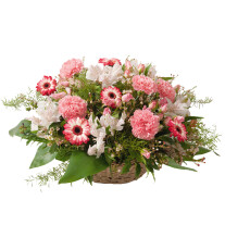 Round basket for funeral in white and pink colours