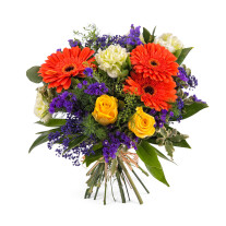 Arrangement with Gerbera Daisies and Roses