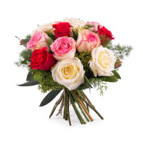 12 Short-stemmed Multicoloured Roses